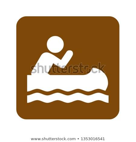 evezés · csónak · piktogram · barna · víz · sport - stock fotó © seiksoon