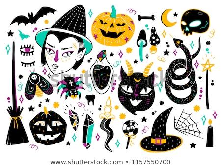 Karikatür el halloween çizim sanat canavar Stok fotoğraf © indiwarm