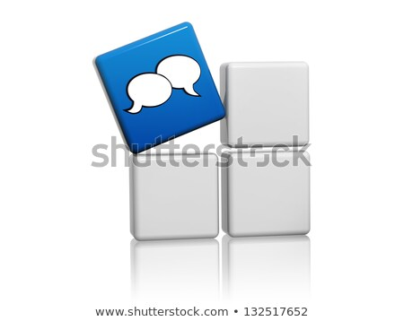 speech bubbles sign in blue cube over grey boxes Stock photo © marinini