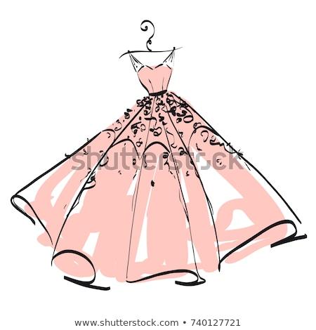 vestido · de · noiva · noiva · silhueta · menina · sensual - foto stock © beaubelle