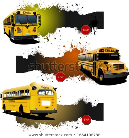 Three grunge banners with Yellow school buses. Vector illustrati Stock photo © leonido