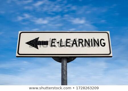 Oktatás online oktatás útjelzés kék számítógép iskola Stock fotó © tashatuvango