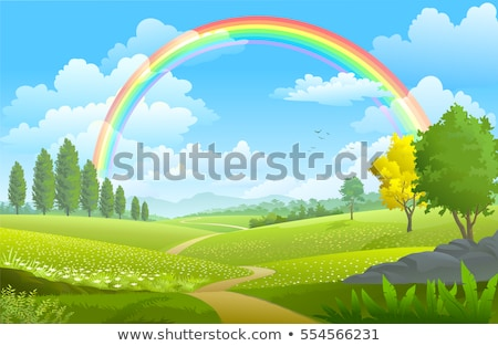 Green landscape with a rainbow in background Stock photo © zzve