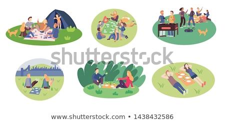 женщину сидят землю моде фото дома Сток-фото © chesterf