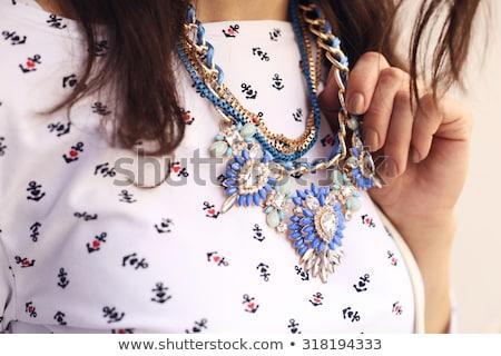 брюнетка · ожерелье · бирюзовый · белый · синий - Сток-фото © chesterf