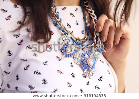 Brunette ketting turkoois witte Blauw Stockfoto © chesterf