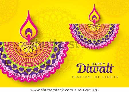 Vector background  Beautiful diwali diya card colorful rangoli  Stock photo © bharat