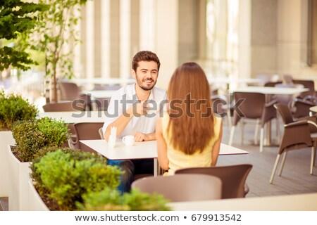 патио · сидят · красивой · домой · таблице · зеленый - Сток-фото © juniart