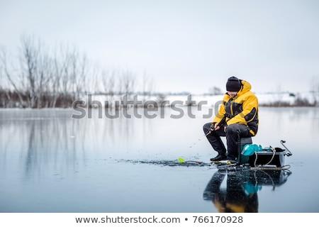 Zimą połowów hobby wiele ludzi niebieski Zdjęcia stock © sibrikov