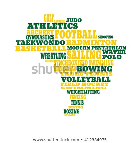 wrestling word cloud with green wordings stock photo © seiksoon