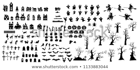 halloween · arbre · ciel · maison · web - photo stock © vectorpro