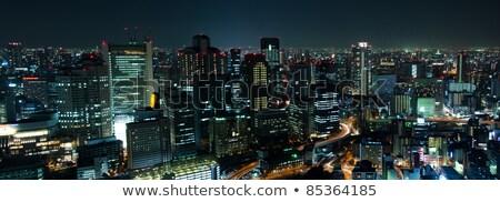 Oszaka · sziluett · éjszaka · város · Japán · üzlet - stock fotó © yoshiyayo