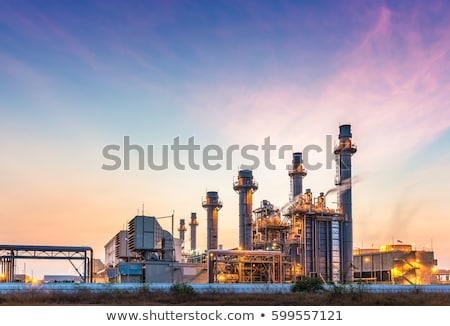 Blauw schoorsteen industrie plant rook Frankfurt Stockfoto © meinzahn