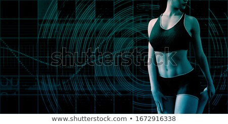 Beautiful Girl Training Fitness On Abstract Background Toned In Foto stock © kentoh