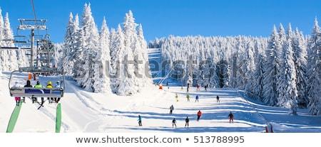 sí · üdülőhely · Ausztria · tél · tájkép · délelőtt - stock fotó © bigandt