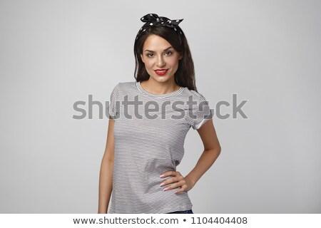 Kaukázusi szépség visel fejkendő fiatal nő Stock fotó © tommyandone