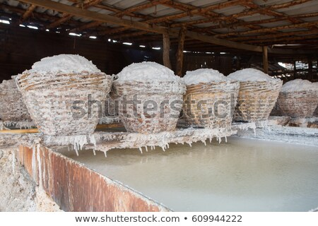 Salt in baskets. Ancient traditional salt production on the Bali Stock photo © pzaxe