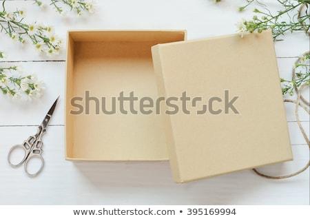 Abrir marrom caixa de presente vazio fibra conselho Foto stock © dezign56