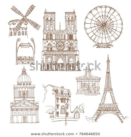 Párizs · karácsony · Franciaország · égbolt · város · templom - stock fotó © joyr