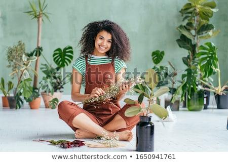 érzékiség szexi barna hajú pózol elegáns fekete fehérnemű Stock fotó © lithian