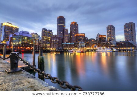 Boston skyline at sunset Piers Park Massachusetts Stock photo © lunamarina