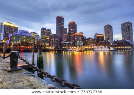 Бостон · Skyline · закат · вентилятор · пирс · бизнеса - Сток-фото © lunamarina