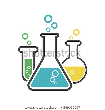 test tube with bubbles simple icon on white background stock photo © tkacchuk