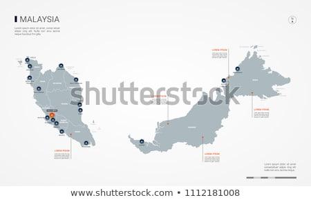 orange button with the image maps of Malaysia Stock photo © mayboro