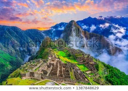 Machu Picchu káprázatos egy modern hét épület Stock fotó © pazham