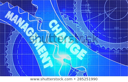 change management on the cogwheels blueprint style stock photo © tashatuvango