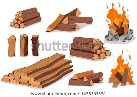 Boglya tűzifa fa köteg érdekes tűz Stock fotó © fanfo