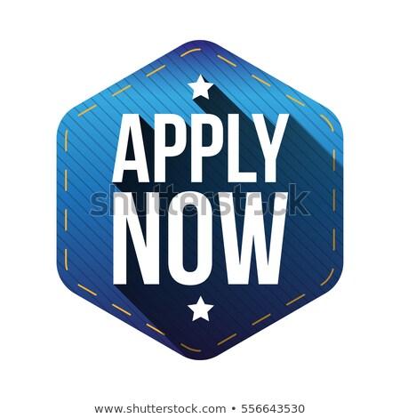 apply now blue sticky notes vector icon design stock photo © rizwanali3d