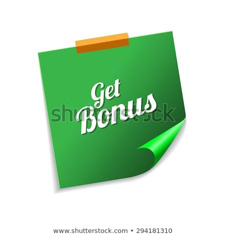 Get Bonus Green Sticky Notes Vector Icon Design Stock photo © rizwanali3d