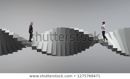 3d man marche escalier évolution blanche Photo stock © nithin_abraham