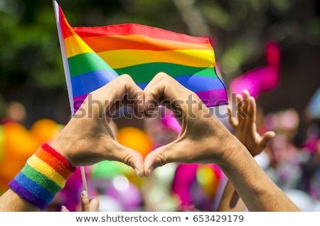 Gay orgoglio bandiera impiccagione muro di mattoni costruzione Foto d'archivio © chrisbradshaw