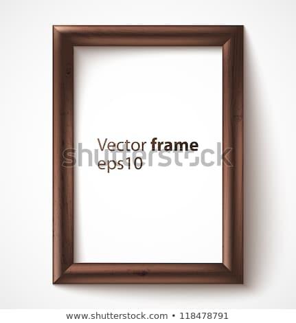 wooden rectangular 3d photo frame with shadow vector illustrati stock photo © netkov1