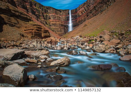 The Hengifoss waterfall in Iceland Stock photo © elxeneize