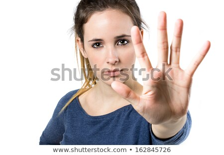 Young woman making stop sign in front of the camera Stock photo © nenetus