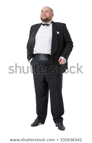 Jolly Fat Man in Tuxedo and Bow tie Shows Emotions Stock photo © Discovod