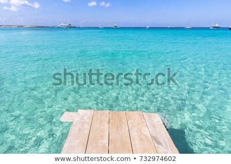 Formentera Illetes turquoise sea wooden pier Stock photo © lunamarina