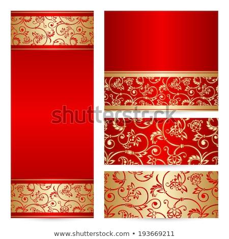 Vintage rouge invitation couvrir or dentelle Photo stock © liliwhite