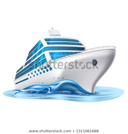océano · crucero · ilustración · frente · estilo · retro · mar - foto stock © morphart