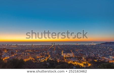 мнение Барселона Восход Испания здании город Сток-фото © elxeneize