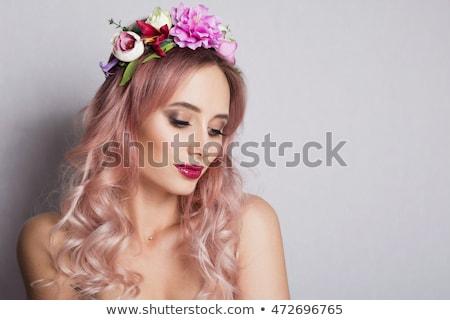 довольно женщины красивой вьющиеся волосы закрывается Сток-фото © deandrobot