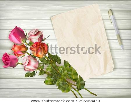 tebrik · kartı · ahşap · masa · eps · 10 · güller · buket - stok fotoğraf © beholdereye