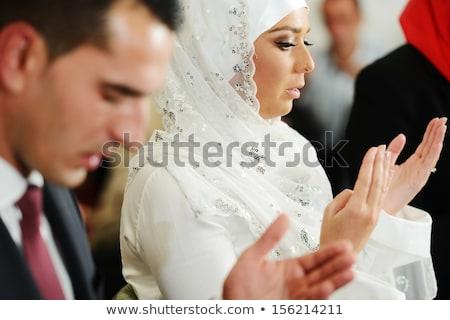 Muslim sposa lo sposo moschea cerimonia di nozze donna Foto d'archivio © zurijeta