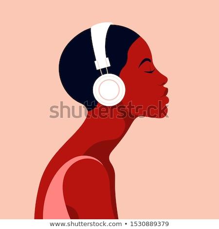 Vrouw hoofdtelefoon vector mooie haren meisje Stockfoto © beaubelle