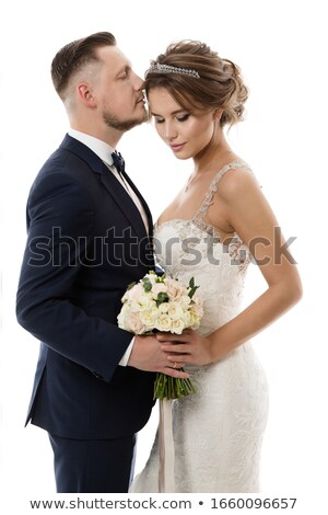 Young affectionate couple. Bride in wedding dress. romantic love Stock photo © Victoria_Andreas