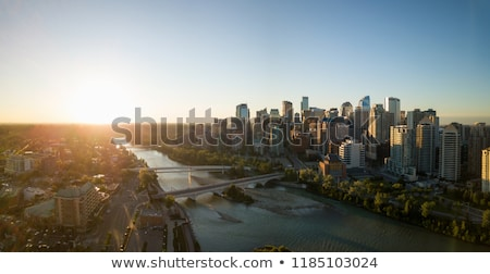 panorama of calgary at sunrise stock photo © benkrut