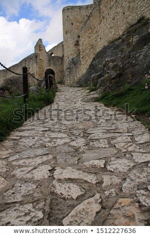 taş · yol · ıslak · eski · şehir - stok fotoğraf © meinzahn